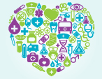 heart with healthcare symbols