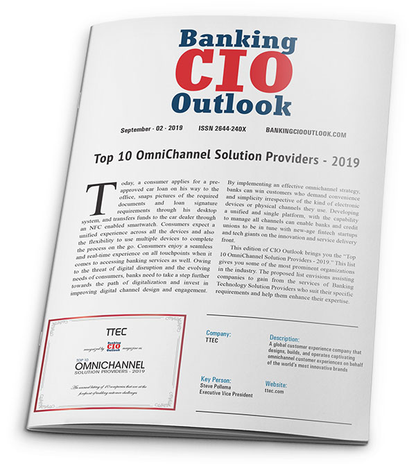 Banking CIO Outlook Top 10 Omnichannel Solution Providers - 2019