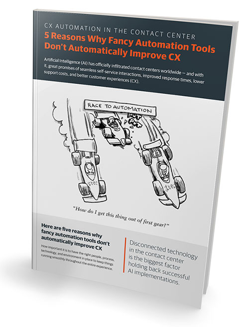 Guide showing how fancy cx automation tools don't automatically create contact center optimization