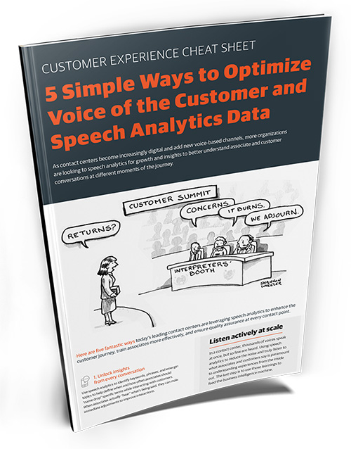 Cheatsheet helping you optmize the important contact center analytics of voice of the customer and speech analytics