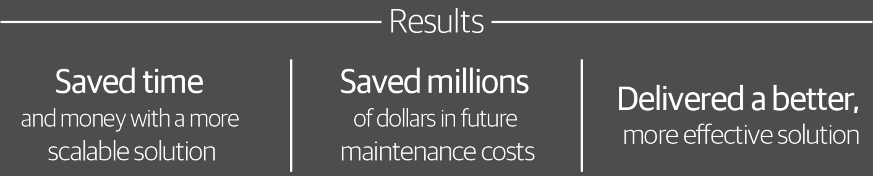 We came up with a more scalable solution and helped oru client save millions of dollars