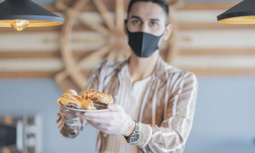 bakery worker wearing a mask