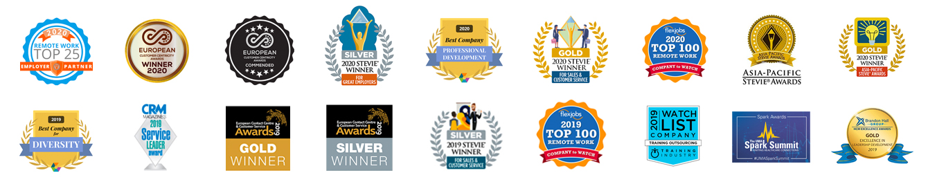 logos of some of our contact center outsourcing related awards